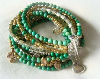 MULTI STRAND BRACELET ... green agate, silver and gold