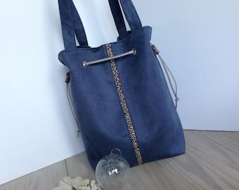Blue Suede purse handbag.