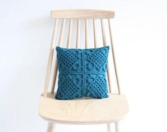 Petrol crochet pillowcase 30 x 30 cm