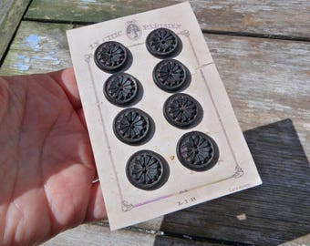 Vintage Antique /1920 French  black carved buttons set of 8 on a card