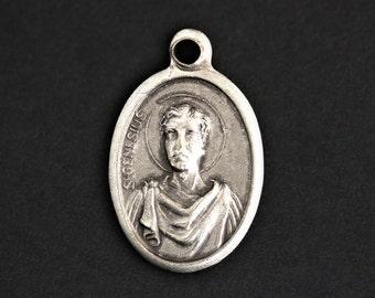 Saint Genesius Medal. Catholic Pendant. St Genesius Pendant. Saint Genesius Charm. Catholic Saint Medal. 25mm x 16mm (Qty 1)