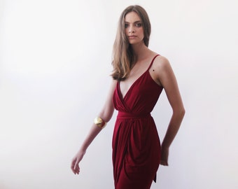 Wrap maxi Bordeaux gown, Bordeaux tulip maxi gown 1033