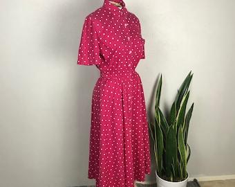 1990s Liz Claiborne Hot Pink Diamond Print Shirt Dress