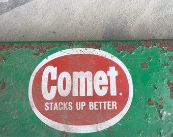 Comet Metal Moving Dolly Advertising Caster Flat Green & Red Comet Stacks Up Better General Purpose Vintage ~ #H1097