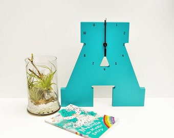 "Wooden Letter ""A"" Clock 
