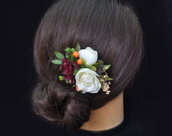 Burgundy flower clip Wedding hair clip Bridal flower clip Autumn Wedding hair accessories Bridal hair clip Bridesmaid hair clip Fall wedding