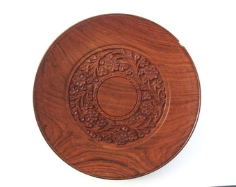 Hand Carved Wood Plate from Thailand, Vintage Small Wooden Thai Platter