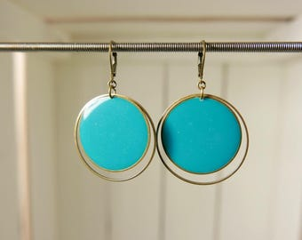 Stained glass Turquoise Blue resin earrings