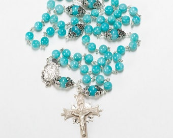 Amazonite Rosary - Handmade gift for Catholic Women with Bali sterling silver and ornate center - Custom, Heirloom Rosaries
