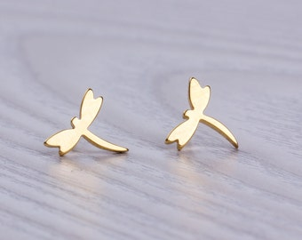 Gold stud earrings / Dragonfly earrings / Tiny stud earrings / Gold earrings / Insect jewelry / bridesmaid earrings / Nature jewelry| Dryads