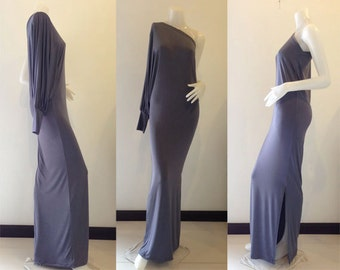 Gray one shoulder long evening dress elegance all size