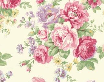 Ruru Bouquet Love Rose Love Cotton Fabric Rose ru2300-11A Roses on Cream