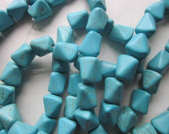 Blue Magnesite Beads 12x10mm 14 Beads