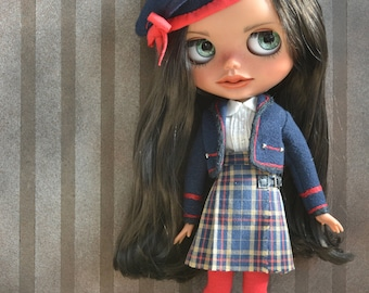 Handmade cotton skirt +shirt + jacket  +hat + stockings + and boots for Blythe and Pullip outfit