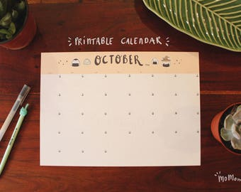 October Calendar 2018 Printable - Momomo