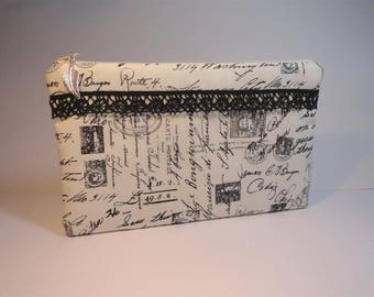 Kit flat cotton pouch unbleached cotton canvas printed with ancient writing, stamps and postage stamps, Black Lace