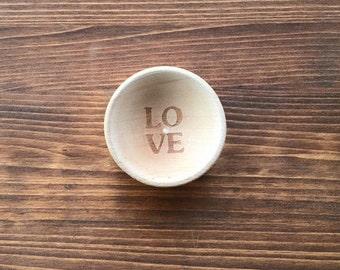 Love Wood Ring Bowl Dish Custom Engraved