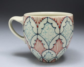 Coffee Mug - Handmade Ceramic Cup with Navy Blue, Red and Turquoise Pattern