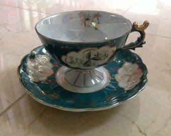 Vintage Lefton Pedestal Teacup Teal Gold Lusterware Opalescent Hand Painted