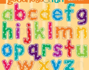 Buy 2, Get 1 FREE - Little Dotty Letters Clipart - Digital Alphabet Clipart - Instant Download