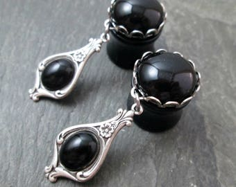 "Victorian Dangle Plugs - 3/4"" 19mm - Black Gem - Wedding Plugs - Bridal Gauges - Plug Earrings"