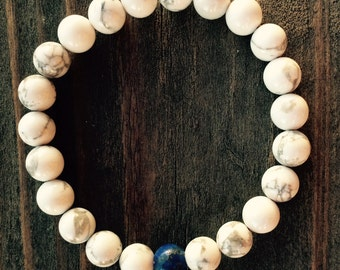 FREE SHIPPING in USA!!  8mm Natural White Howlite and Lapis Lazuli Spiritual Bead Bracelet on Stretch Cord Custom Size