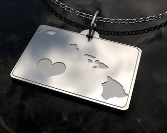 Hawaii State Heart Pendant Necklace - Personalized State Necklace- SOLID .925 Etched Sterling Silver Gift