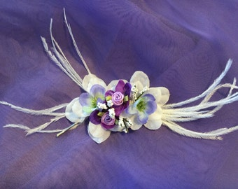 Exotic Tropical White Purple Lavender Hair Pin with White Feathers  and silver hair pin
