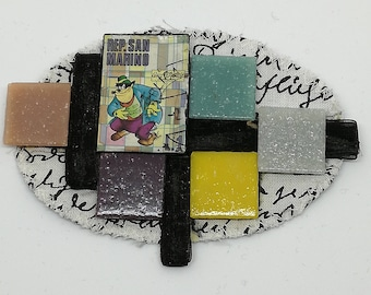 Fabric brooch oval composed of carton postage stamp glass mosaics multicolor black satin ribbon