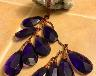 Purple Teardrop Freeform Necklace