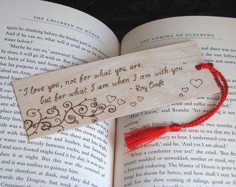 Wooden bookmark - pyrography - bookmark with love quote