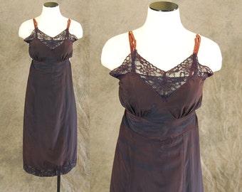 vintage 40s Slip - Lacy Skarkskin Navy Purple Red Full Slip Dress 1940s Color Change Lingerie Sz XS