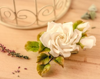 Wedding hair clip White rose flower hair piece Bridal hair clip  flower brooch mother of the bride Natural look flower jewerly accessory