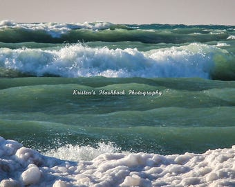 Wrapped Canvas of Lake Michigan Waves In the Winter and Ice