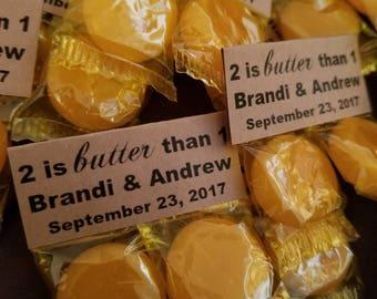 100 Butterscotch wedding favors. Wedding favors. Rustic wedding favors.