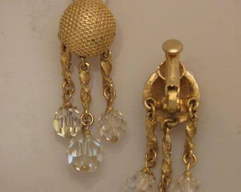 Stunning Vendome Clip On Earrings with AURORA BOREALIS Crystal Rhinestone Dangle Drops!