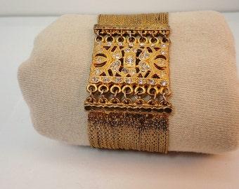 80s Goldtone /Rhinestones  VCLM wide bracelet Statement vintage