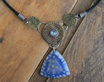 Handmade Boho Mixed Metal, Mixed Media, Moonstone Necklace