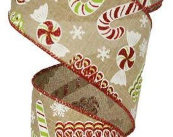 RIBBON - Wired Ribbon - White Ribbon - Candy Ribbon - Christmas Ribbon - Wreath - RG0155901