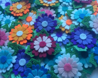 Gorgeous quadruple layered felt flowers with leaves, pack of 6 die cut shapes