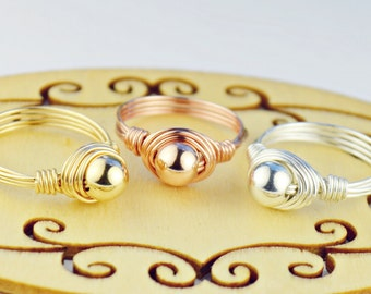 Your Choice of ONE Silver, Yellow, or Rose Gold Filled Wire Wrapped Ring- Any Size 4, 5, 6, 7, 8, 9, 10, 11, 12, 13, 14
