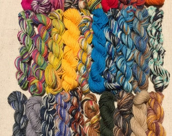 All Colors Dyed by me, Mini Skeins, Lot of 30, 25 Yards Each, 750+ Yards, No Knots, One Freebie, Quality Sock Yarn, Perfect for Brioche
