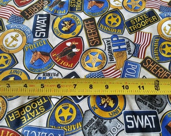 Police SWAT State Trooper Patches - 1 Yard Cut by Quilting Treasures