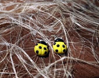 Earrings dangling yellow polymer clay Ladybug
