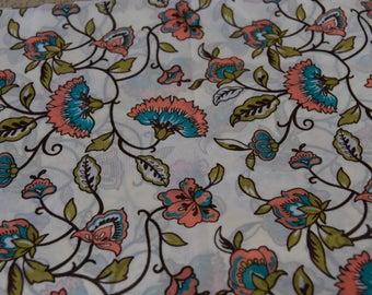 Cream Floral Print Sheer Fabric