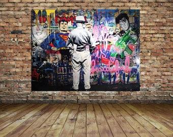 Street Art Grafitti Mr Brainwash Sick Urban Art Pop Art Canvas Print 24 x 18