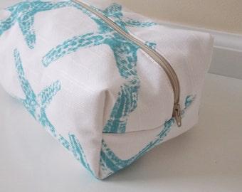 Starfish Makeup Bag - Aqua Makeup Bag - Cosmetic Bag - Large Makeup Bag - Waterproof Makeup Bag