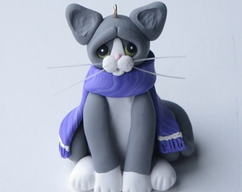 Gray Tuxedo Cat Christmas Ornament Figurine Polymer Clay Sculpture
