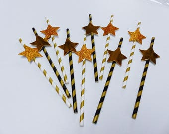 10 straw new year's Eve party star paper and glitter gold metal new year gold gilded black and white holiday eve