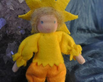 Felt Star Child in Steiner Waldorf Style
